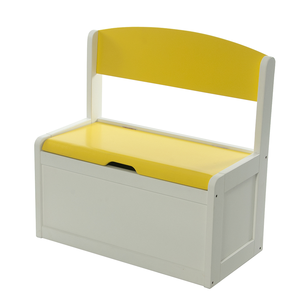 neuf banc et bacs de rangement enfant jaune en bois fabio. Black Bedroom Furniture Sets. Home Design Ideas