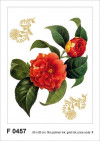 Red flower with golden elements, Grand sticker mural 65 x 85 cm