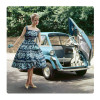 Girl in blue car, picture on the wall made of plexiglass 19 x 19 cm