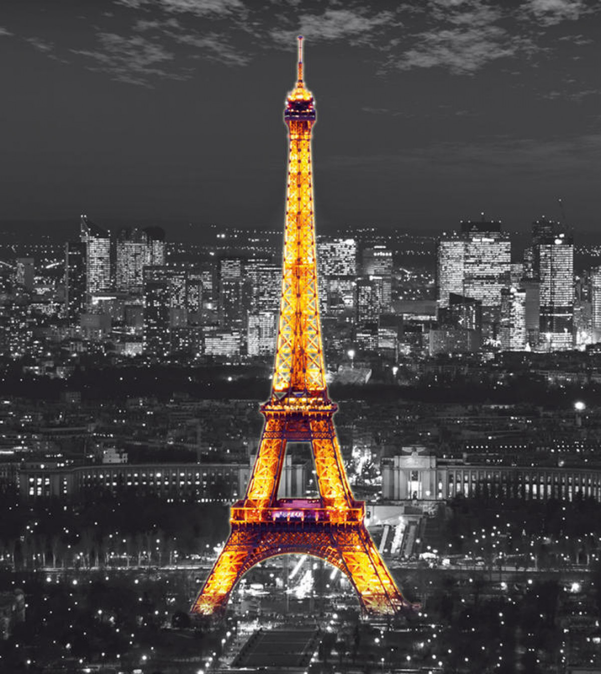 Eiffel tower in the night    , photo murale, 180x202 cm, 2 parts