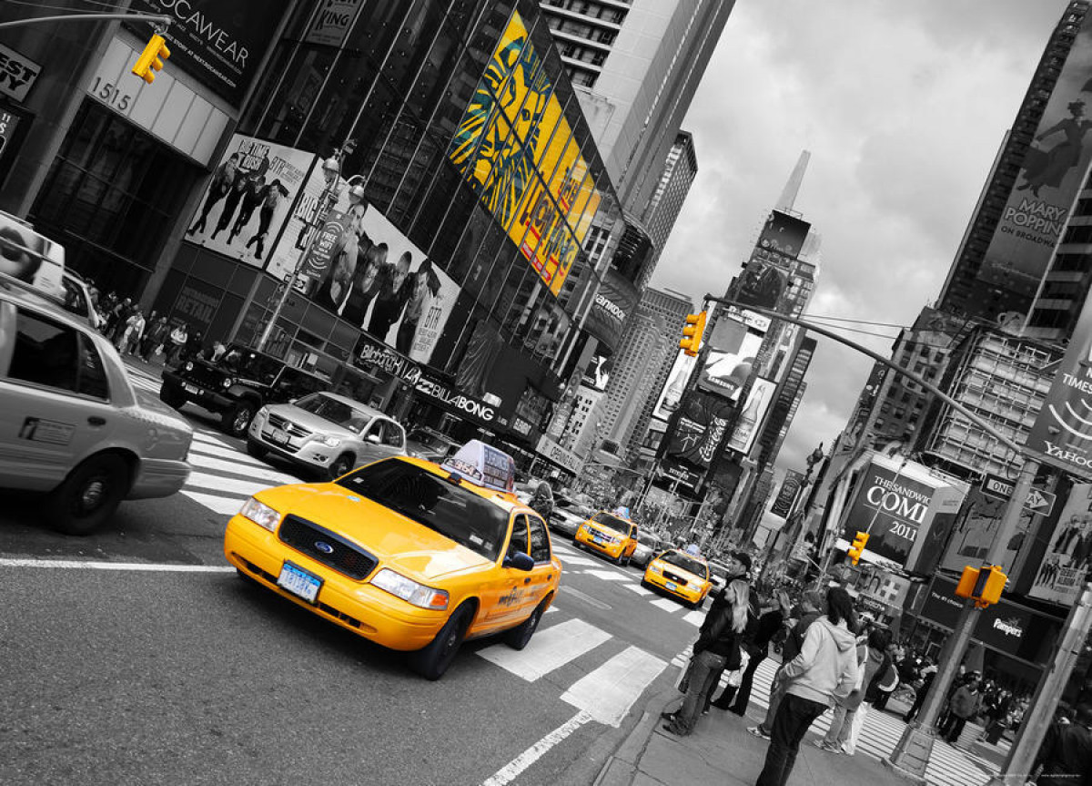 New York taxi Yellow cab, photo murale, 160 x 115 cm, 1 part