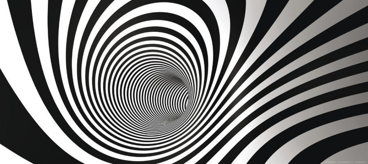 Black and white spiral wormhole, photo murale, 202 x 90 cm, 1 part