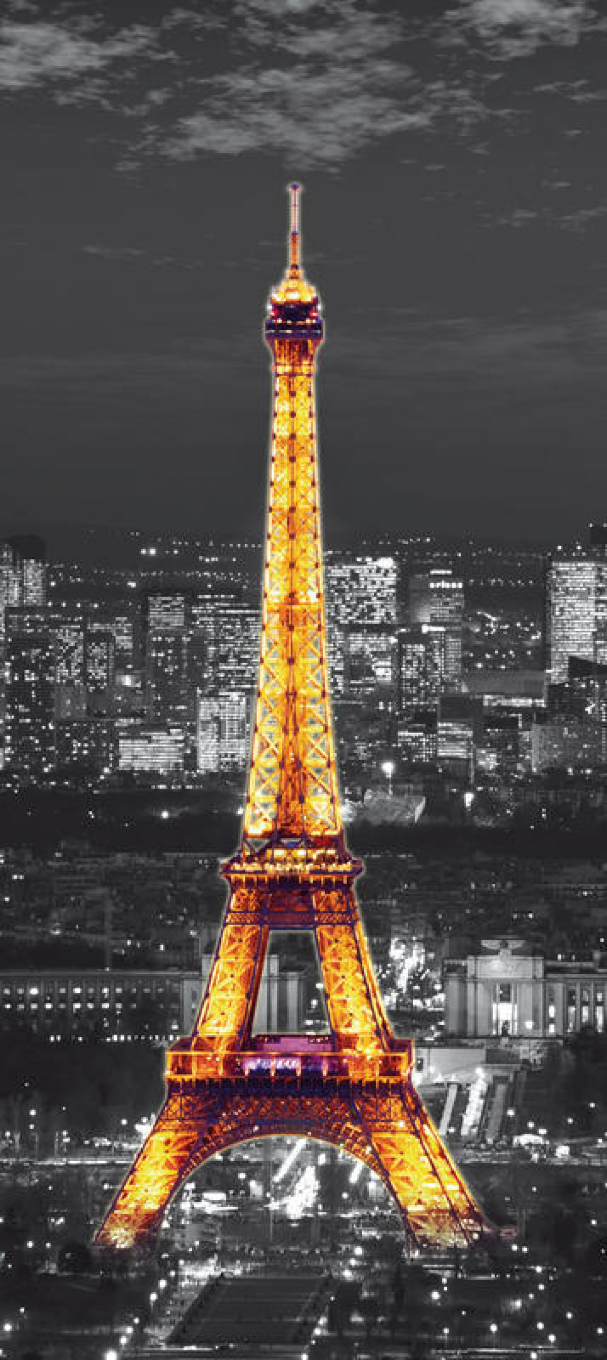 Eiffel tower at night, paper photo mural, 90x202 cm, 1 part