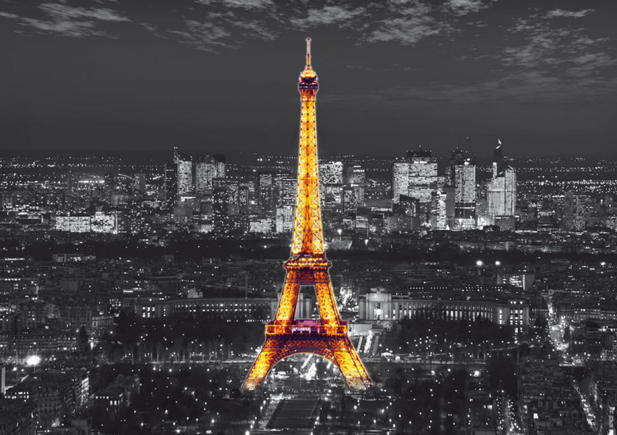 Eiffel Tower in the night , photo murale intissée, 360x270 cm, 4 parts