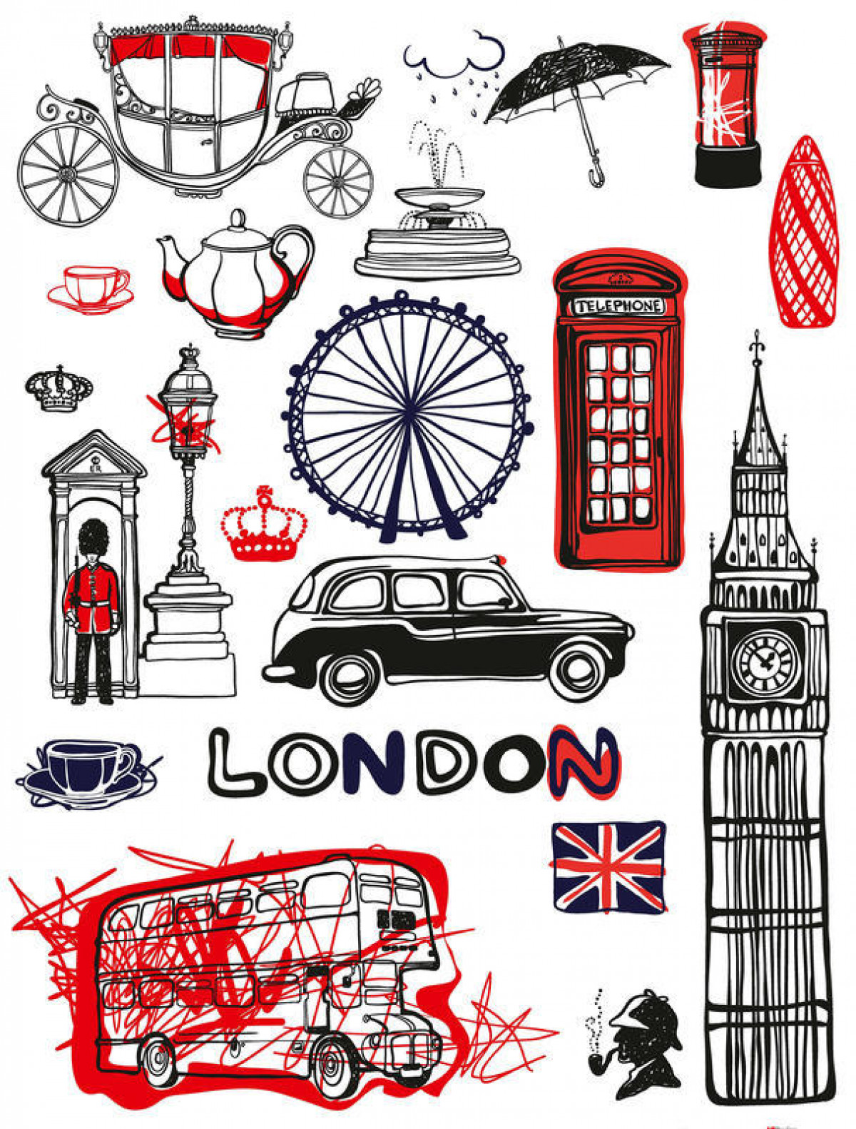 London, Grand sticker mural 65 x 85 cm