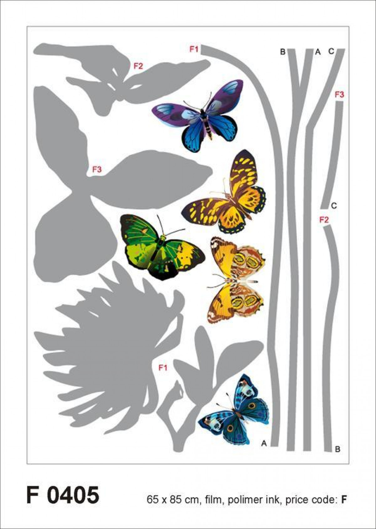 Grey flower butterflies, Grand sticker mural 65 x 85 cm