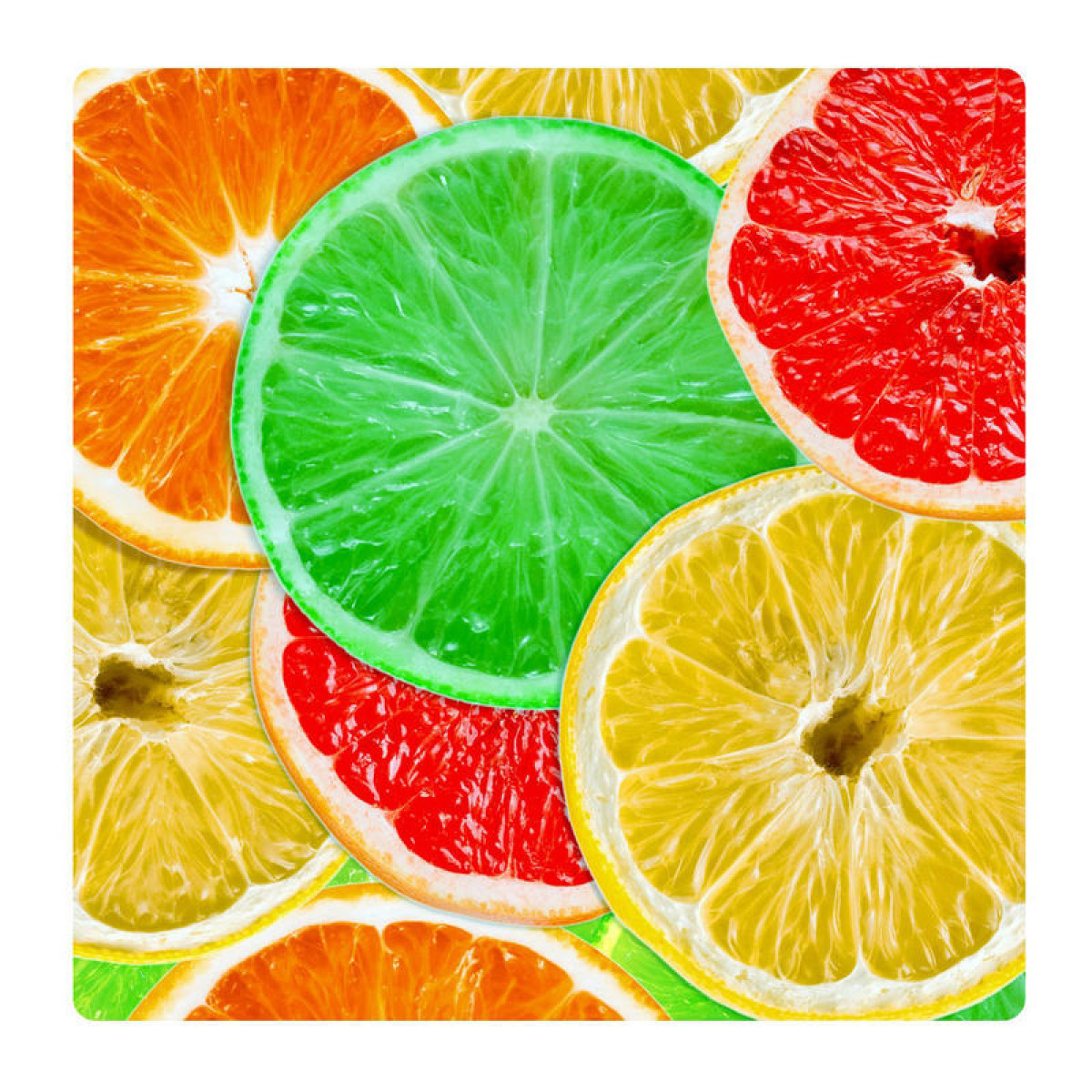 Colored limes, Photo pour accrocher au mur faite en plexiglass 19 x 19 cm