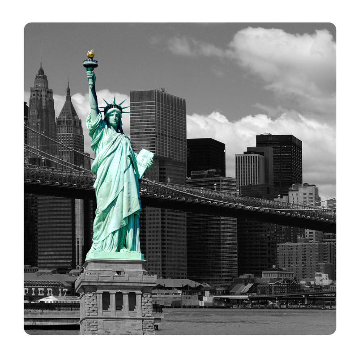 Statue of Liberty, Photo pour accrocher au mur faite en plexiglass 29 x 29 cm
