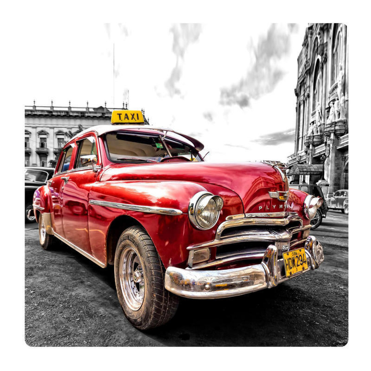 Old taxi, picture on the wall made of plexiglass 29 x 29 cm