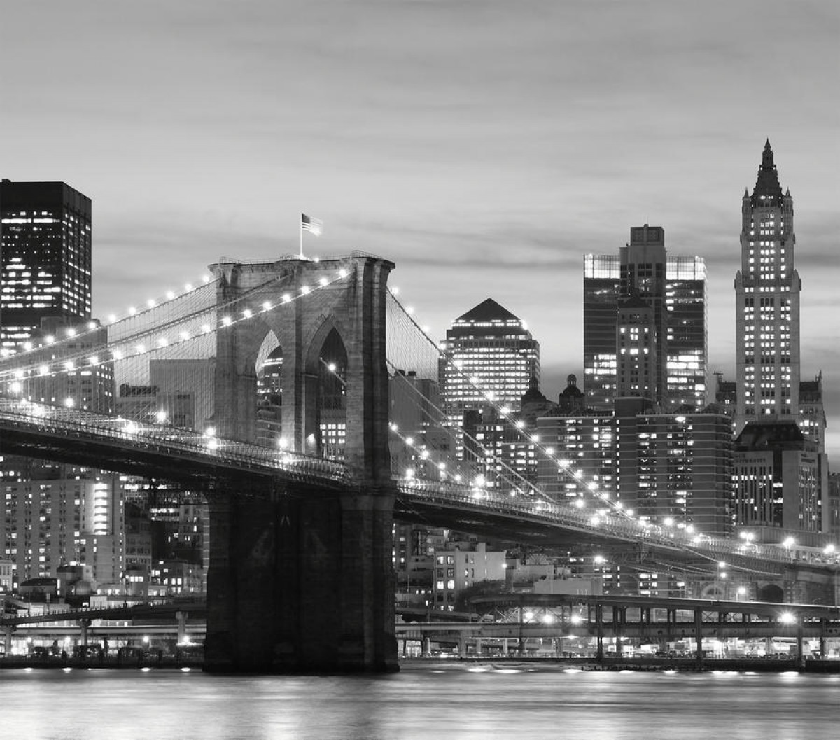 Rideau imprimé New York pont de Brooklyn illuminé photo en noir et blanc280x245 cm, 2 parts