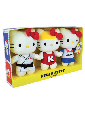 HELLO KITTY LOT DE 3 PELUCHES +/- 14 CM EN COFFRET RETRO SPORT
