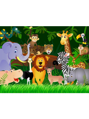 African animals, photo murale, children's room, 360x254 cm, 4 parts
