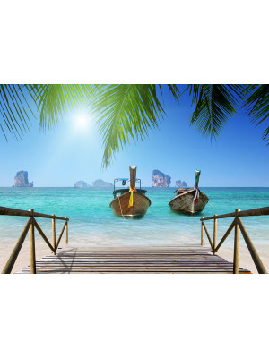 Thailand beach boats, photo murale, 360x254 cm, 4 parts
