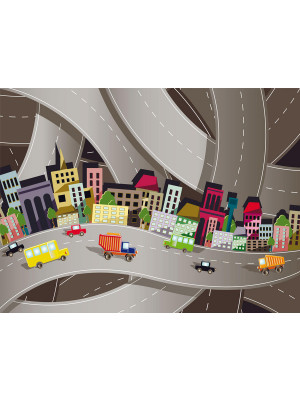 Cars on the road, photo murale voitures et camions  360x255 cm, 4 parts