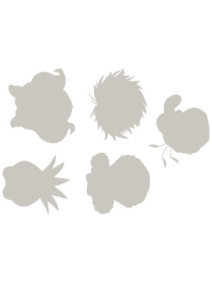 "Stickers décoration murale ""The Muppets"" 5 visages Gris"