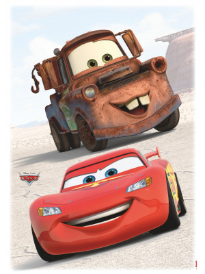 2 Stickers Disney Cars Flash McQueen Martin  50x70cm