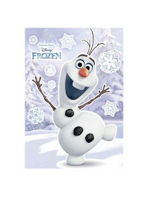Stickers géant La Reine des Neiges Disney Olaf qui sourit 50 x 70 cm