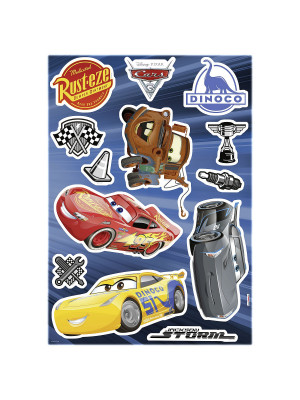 Stickers Fênêtre Disney Cars 3 Flash Mc Queen, Jackson Storm, Cruz Ramirez et Hook  31x31cm