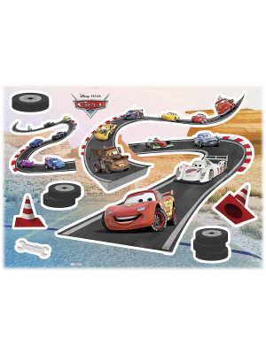 Stickers Muraux Disney Cars Piste de Voitures 50x70cm