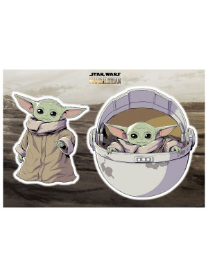 "Stickers Muraux géant Mandolorian Baby Yoda ""The Child"" Star Wars  50 x 70 cm"