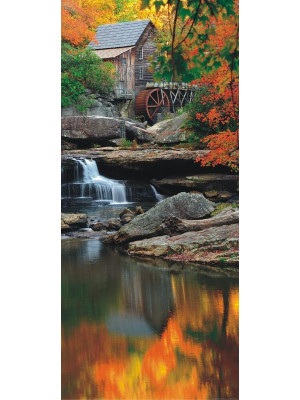 Autumn mill, intissé photo mural, 90 x 202 cm, 1 part