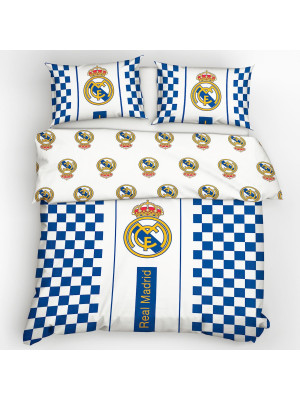 Parure de lit double Real Madrid bordure bleu 100% coton 220x200 cm