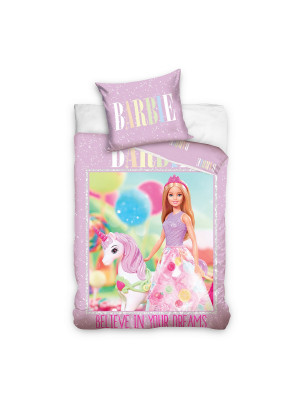 "Parure de lit Barbie Mattel avec licorne ""believe in your dreams"" 140x200cm"