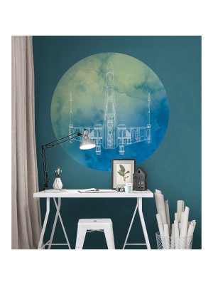 Poster autocollant forme ronde Star Wars X-Wing - 125  cm