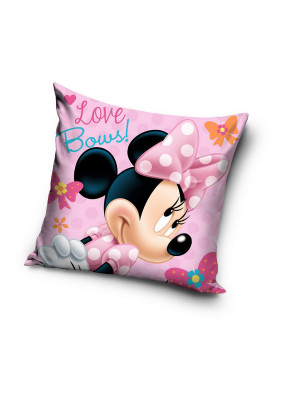 "Coussin Minnie Disney couleur rose ""love bows"" 40x40cm"