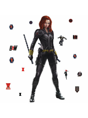 Sticker géant repositionnable noir Black Widow Marvel Avengers Disney - 62.23 cm, 50 cm