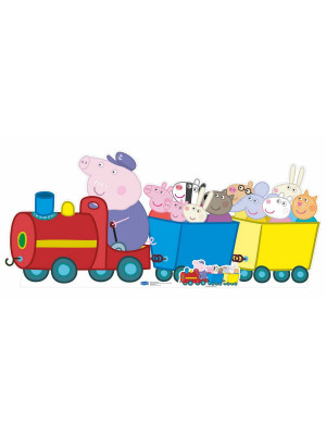 Figurine en carton  Grand-père Pigs dans le train - Peppa Pig  84  cm