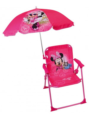 Chaise pliante enfant avec parasol - Disney - Minnie Mouse