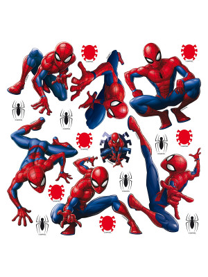 Minis Stickers Marvel 7 Spiderman et décorations - 1 planche de 30 CM x 30 CM