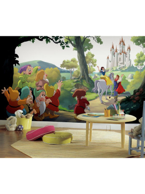 Fresque murale adhésive géante Disney Princesse Blanche neige et ls 7 nains 'HAPPILY EVER AFTER' XL - 320 cm, 182,88 cm