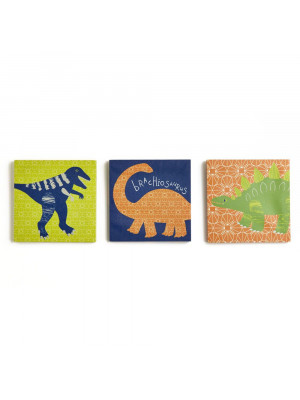 Lot de 3 tableaux Dinosaures