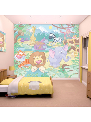 Papier peint bébé animaux de la jungle Walltastic 305X244 CM