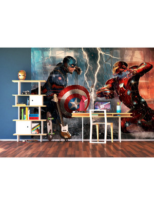 Papier peint XXL intisse Captain America vs Iron Man Marvel 360X255 CM