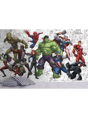 Papier peint Panoramique Surestrip (pose sans colle) Heros Marvel 320X182 CM