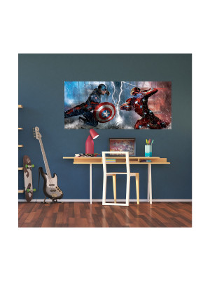 Poster géant Fight Captain America vs Iron Man Marvel intisse 202X90 CM