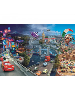 Papier Peint World Grand Prix Cars Disney Intissé : 152,5 x 104 cm
