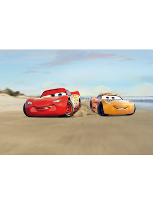 Papier Peint Photo Cars 3 Disney Flash Mc Queen et Cruz Ramirez course sur la plage 368cm x 254cm