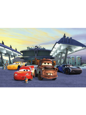 Papier Peint Photo Cars 3 Disney Flash Mc Queen et ses amis à la station service 368cm x 254cm