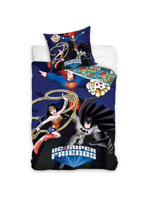 Parure de lit 100% coton Super Friends DC Comics  140x200 cm