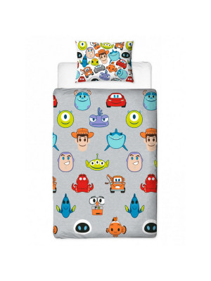 Parure de lit réversible Disney Emoji Toy Story , Monsters&co, Wall-e de 135cm x 200cm