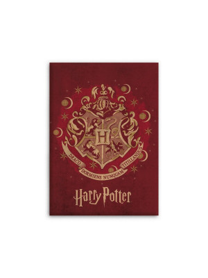 Plaid polaire Harry Potter le logo de Poudlard sur fond rouge 100x140cm