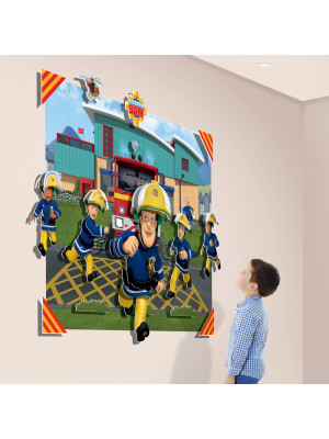 Poster XXL avec personnages en relief  Sam le Pompier 3D pop out 122X152 cm
