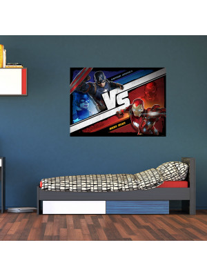 Poster M Captain America vs Iron Man Marvel intisse 160X115 CM
