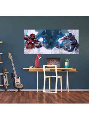 Poster géant Captain America vs Iron Man Marvel intisse 202X90 CM