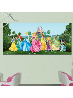 Poster géant Château et Princesses Disney intisse 202X90 CM