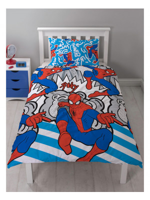 Parure de lit simple réversible Popart Spiderman Marvel